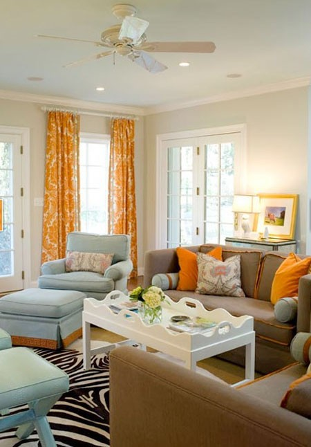 Yellow Living Room: Interior Design -Window Fashions